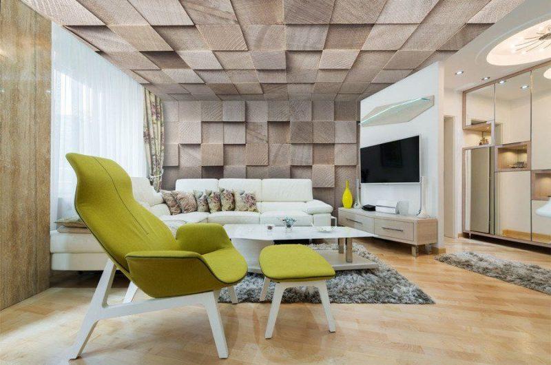 Installation plafond tendu effet bois